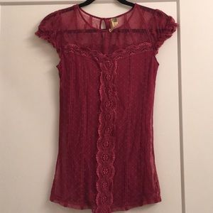 Free People Magenta Lace Cap sleeve blouse